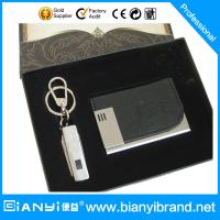 Buy cheap Customized pu leather keychain,card holders corporate gift set with custom logo from wholesalers