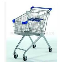 Buy cheap Wire Metal Supermarket Shopping Trolley Cart / Zinc Plated wheeled shopping trolley from wholesalers