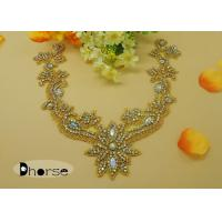 Sew On AB Stone Gold Rhinestone Flower Applique For Ladies Garment Manufactures