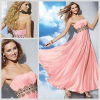 Buy cheap Sexy Strapless Womens Prom Dresses /  Formal Pleated Long Dress in Pink from wholesalers