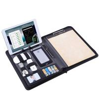 Buy cheap Zippered Business Portfolio PU Leather Made With Removable Notepad Clipboard from wholesalers