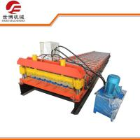 Buy cheap Metal Decking Floor Trapezoid Sheet Cold Roll Forming Machine PLC Control Style from wholesalers