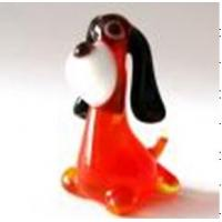 Buy cheap Handmade Lampwork Glass Animals , Red Body Black Ear Glass Dog Figurines 7cm from wholesalers
