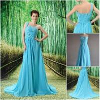 2012 Beautiful One-Shoulder Ruffle Applique Prom Dress (CPD-002) Manufactures