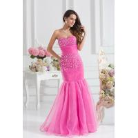 Buy cheap Grace Mermaid Pink Organza Womens Party Dresses with Beads for Military Ball from wholesalers