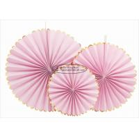 Buy cheap Single Color Pink Paper Fans Party Favors 14 Inch For Home Decoration from wholesalers