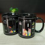 Buy cheap Black Tetris Ceramic Mug Color Changing Coffee Mug / Funny Magic Mug from wholesalers