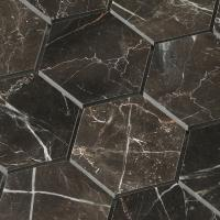 Buy cheap Hexagon shape chip 3x3 inch tile Dark emperador marble mosaic for wall flooring design from wholesalers