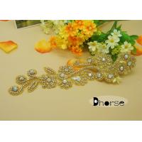 Gold Base Ab Stone Evening Dresses Rhinestone Beaded Applique With Flower Design Manufactures