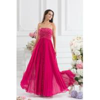 Buy cheap Charming Lady Strapless A Line Chiffon Celebrities Evening Dresses Beading , Hot Pink from wholesalers