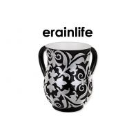 Quality Israel Judaica Hand Washing Cup With 2 Handles Religious Item Black Flower Pattern for sale