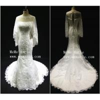 Dignified three quarter sabrina wedding dress with applique lace BYB-14586 Manufactures