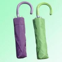 Wholesale Three-foldable Umbrella with Colored Leather-wrapped Wooden Handle from china suppliers