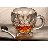 Buy cheap Round Top Small Elegant Glass Tea Coffee Mugs Two Pattern With Stand Handle from wholesalers