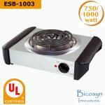 Buy cheap 750/1000 Watt Cheap Compact Single Buffet Burner Electric Hot Plate, Black/Silver, UL, camping,school,travel stove from wholesalers