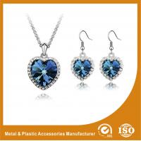 Wholesale Stylish Zinc Alloy Jewelry Sets Gold Plated Blue Jewellery Sets Heart Shape from china suppliers