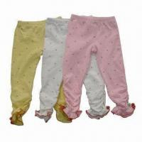 Buy cheap Girl's Legging Pants/Knit Pants, Made of Stretch Cotton Material, All Over Printing from wholesalers