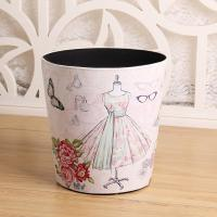 Buy cheap European Style Retro Trash Can Waste Basket PU Leather Dustbin Garbage Bin from wholesalers