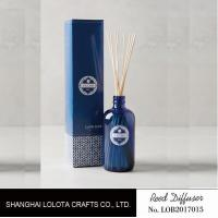 Wholesale transparent blue color reed diffuser with natural stick and pattern folding box from china suppliers