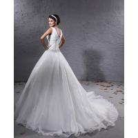 Buy cheap Lady Deep V Neck A Line Empire Line Wedding Dresses with Beaded , Organza Ruffle Style from wholesalers