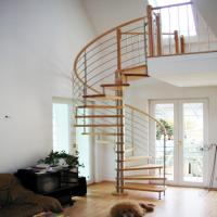 Wholesale modern design indoor stainless steel oak solid wooden spiral stairs design with painting color from china suppliers