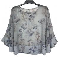 Buy cheap Women Fashion Ruffle Sleeve Chiffon Blouse Flower Printing Color Polyester Material from wholesalers