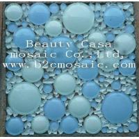 Buy cheap White and Light Blue 3D Ronnd Glass Mosaic Tile product