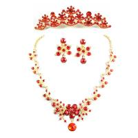 Red Flower Jewelry Necklace Bride Wedding Accessories for Girls Manufactures
