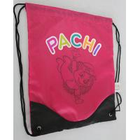 China Sport Shoe Gym Sack Bag Pink Black BSCI With Woven Label Header Card on sale