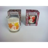 Buy cheap Handmade Glass Candle Jar Scented Candle Gift Sets With Leaf Printing from wholesalers