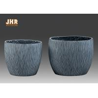 Buy cheap Textured Fiber Clay Flower Pots Planters Clay Garden Pots Round Gray Color from wholesalers