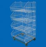 Buy cheap 4 Tier Electroplate Zinc Steel Wire Wheeled Shopping Basket Trolleys / Super Market Racks from wholesalers