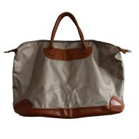 Buy cheap Ivory Canvas waterproof shopper bag with leather pad and handle , zipper and fasten button from wholesalers