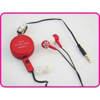 Buy cheap Red Retractable Earphone With Small Round Box / Mic, Retractable Mobile Phone Earphones YDT194 from wholesalers