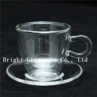 Buy cheap clear double wall thermo glasses, double wall coffee glass, tea set glass with saucer from wholesalers