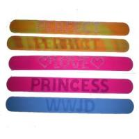 Buy cheap silicone slap bracelet band wristband with debossed logo and color filled from wholesalers
