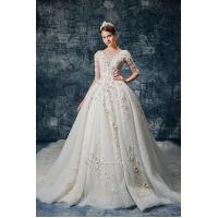 Buy cheap 3D Pink Floral Applique Lace Long Sleeves Bridal Gown from wholesalers