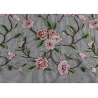 Buy cheap Gray Polyester Flower 3D Embroidered Lace Fabric By The Yard For Lady Dress from wholesalers