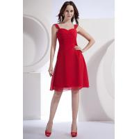 Buy cheap Formal Red Chiffon Short Evening Party Dresses with Natural Waist / Sweetheart A-line Style from wholesalers