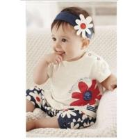 Wholesale Baby set Girls Kids T Shirt Headband Top Pants Shorts Flower 3pcs Outfit Clothes set from china suppliers