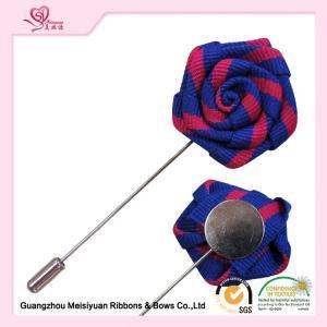 Double Color Grosgrain Ribbon Rose Flower Lapel Pin For Men