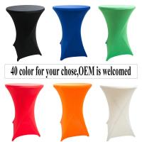 China Colored Lycra Spandex Stretch bistro high top Cocktail Bar Table Cover Sock Tablecloth Wedding Party Hotel Decoration on sale