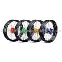 Buy cheap Front Rear Custom Motorcycle Wheels Forged Alloy 17 Black Rims Supermoto Wheels from wholesalers
