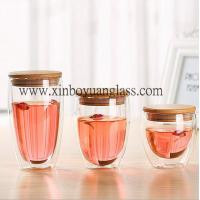 Buy cheap Double wall glass cup / coffee cup /glass cup with bamboo lid from wholesalers