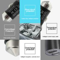 Buy cheap Multifunctional Dual 1.0A and 2.1A smart car usb charger with safety hammer function from wholesalers