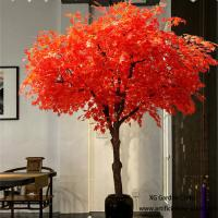 Quality Red Leaves Indoor Vase Planting Artificial Maple Tree Acid And Alkali Resistant for sale