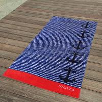 Wholesale Cabana Blue And Red Striped Towel , Black Anchor Beach Towel 15 Colours from china suppliers
