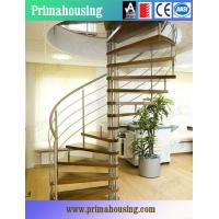 Wood Tread Steel Railing Loft Spiral Staircase For Small Places Space Saving Manufactures