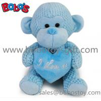Buy cheap Special Valentines Day Gift Stuffed Blue Monkey Plush Toy With Blue Heart Pillow from wholesalers
