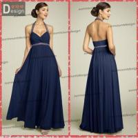Buy cheap Simple Designe Halter A-line Low Back Navy Blue Chiffon Bridesmaid Dress Patterns from wholesalers